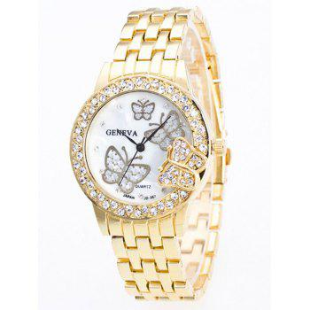 Butterfly Rhinestone Steel Band Quartz Watch