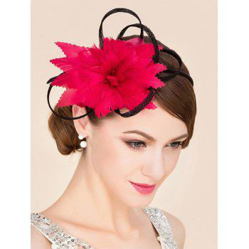 Elegant Lady Red Feathered Flower Bridal Fascinator Wedding Tea Party Cocktails Hat