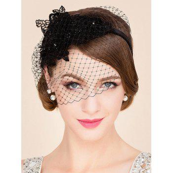 Elegant Lady Lace Flower and Veil Design Banquet Party Black Cocktails Fascinator