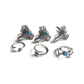 Ethnic Style Faux Turquoise Elephant Head Rings