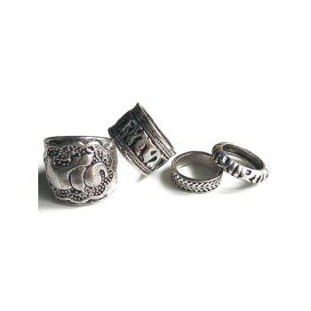 Ethnic Style Elephant Head Cameo Rings
