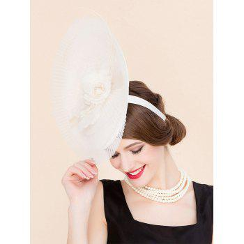 Elegant Flower Feather Pleated Lace Fascinator Headband Wedding Banquet Party Cocktail Hat - OFF WHITE