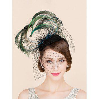 Elegant Feather Veil Fascinator Headband Wedding Banquet Party Cocktail Hat