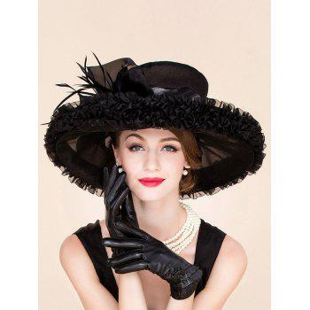 Elegant Feather Ruffle Edge Design Wedding Banquet Party Black Church Hat