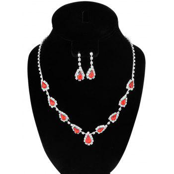 Rhinestone Faux Ruby Teardrop Jewelry Set