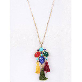 Tassel Faux Gem Pendant Necklace