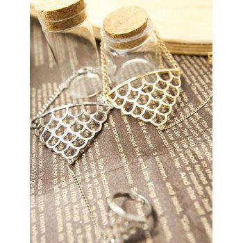 Hollow Out Fish Scales Shape Bracelet With Ring - SILVER ONE-SIZE