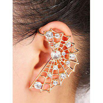 ONE PIECE Cobweb Shape Rhinestone Earring - GOLDEN
