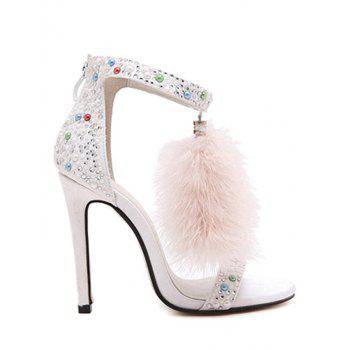 Party Faux Fur and Colorful Beads Design Sandals For Women