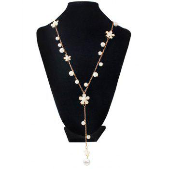 Faux Pearl Floral Beaded Sweater Chain