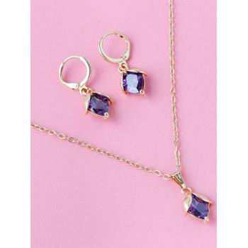 Faux Crystal Adorn Wedding Jewelry Set - PURPLE