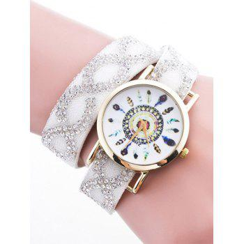 Rhinestone Quartz Bracelet Wristband Feather Watch