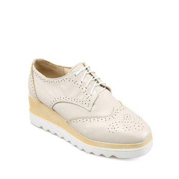 Preppy Engraving and Square Toe Design Platform Shoes For Women - OFF-WHITE 39