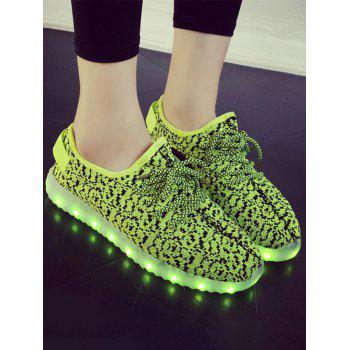 Lace-Up Color Block Lights Up Led Luminous Athletic Shoes