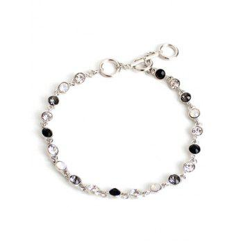 Chic Rhinestone Decorated Gemstone Anklets - SILVER SILVER