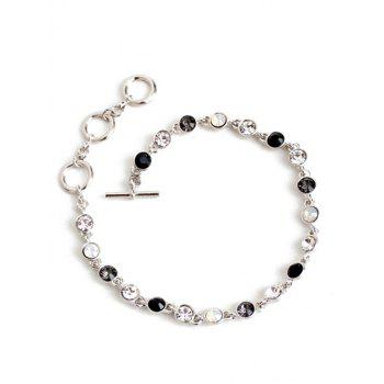Chic Rhinestone Decorated Gemstone Anklets -  SILVER