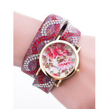 Rhinestone Quartz Bracelet Wristband Flower Watch