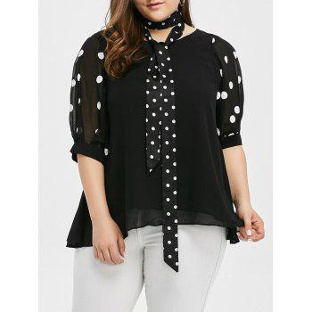 Plus Size Polka Dot Trim Blouse with Tie