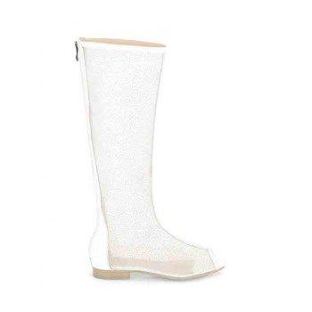 Sexy Splicing and Gauze Design Peep Toe Shoes For Women - WHITE WHITE