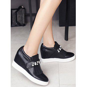 Casual Rhinestone and Fringe Design Wedge Shoes For Women - BLACK BLACK