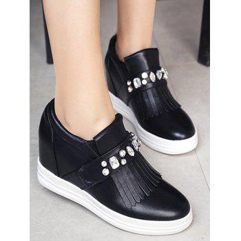 Casual Rhinestone and Fringe Design Wedge Shoes For Women - 35 35