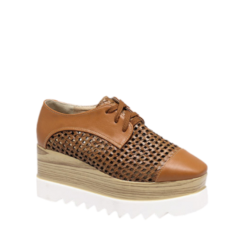 Trendy Hollow Out and Lace-Up Design Women's Platform Shoes - LIGHT BROWN 37
