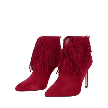 V-Shape Zipper Fringe Ankle Boots - DEEP RED DEEP RED