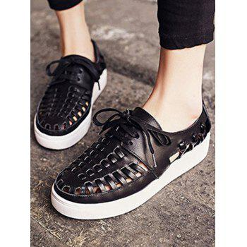 Leisure Lace-Up and Hollow Out Design Sandals For Women - BLACK 39