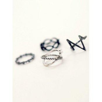 A Suit of Alloy Lighting Rings - SILVER ONE-SIZE