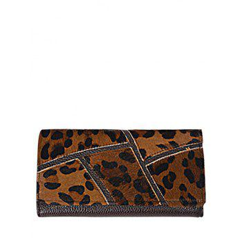 Trendy Splicing and PU Leather Design Wallet For Women - LEOPARD LEOPARD
