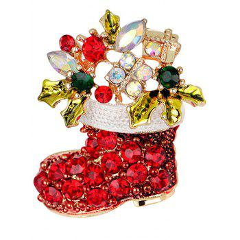 Rhinestone Christmas Shoe Brooch