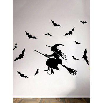 Removable Happy Halloween Witch Bats Room Wall Sticker - BLACK