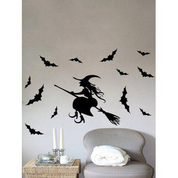 Removable Happy Halloween Witch Bats Room Wall Sticker