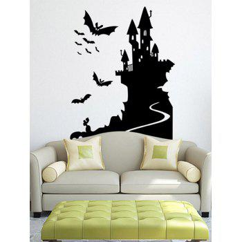 Removable Happy Halloween Bats Castle Room Wall Sticker