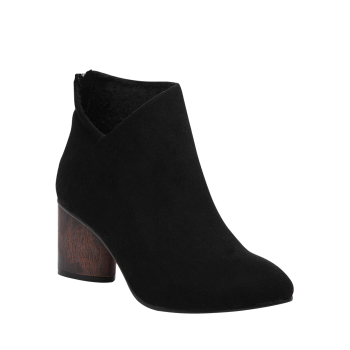 Pointed Toe V-Shape Zipper Ankle Boots - BLACK 37