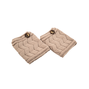 Casual Button Letter W Shape Knitted Boot Cuffs -  KHAKI