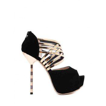 Sexy Platform and Flock Design Peep Toe Shoes For Women - BLACK BLACK