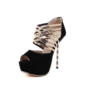 Sexy Platform and Flock Design Peep Toe Shoes For Women - 38 38