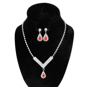 Water Drop Rhinestoned Wedding Jewelry Set