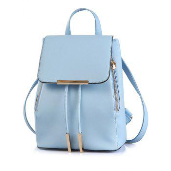 Preppy Cover and Solid Color Design Satchel For Women - BLUE BLUE