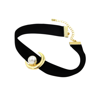 Faux Pearl Moon Choker Necklace