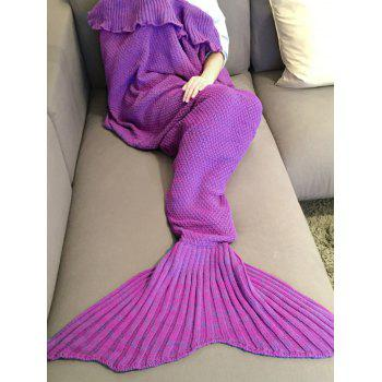Stylish Comfortable Falbala Decor Knitted Mermaid Design Throw Blanket -  PURPLE