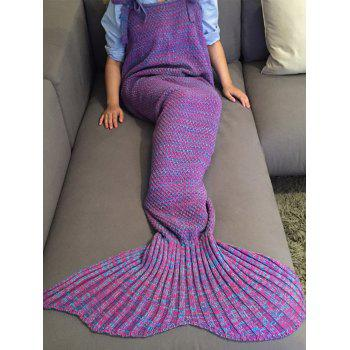 Chic Quality Comfortable Drawstring Style Knitted Mermaid Design Throw Blanket -  PURPLE