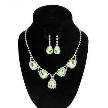 Water Drop Faux Crystal Wedding Jewelry Set