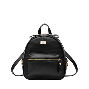 PU Leather Zippers Metal Rivets Backpack