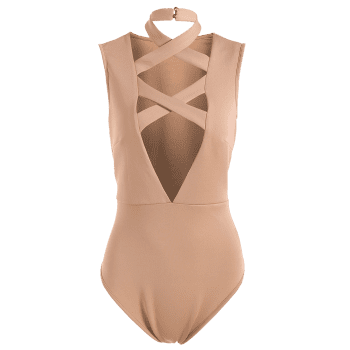 Sleeveless Tight Fit Plunge Low Cut Bodysuit