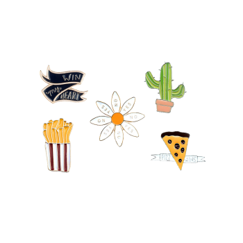 Letter Floral Cheese Cactus Brooch Set