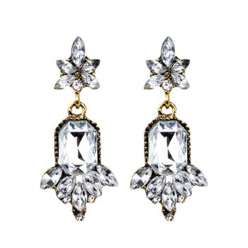 Fake Crystal Chandelier Floral Drop Earrings