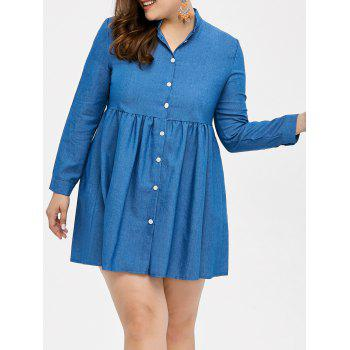 Plus Size Single Breasted Denim Shirt Dress
