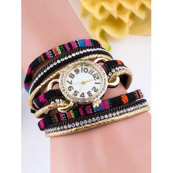 Ethnic Rhinestone Wrap Braid Bracelet Watch